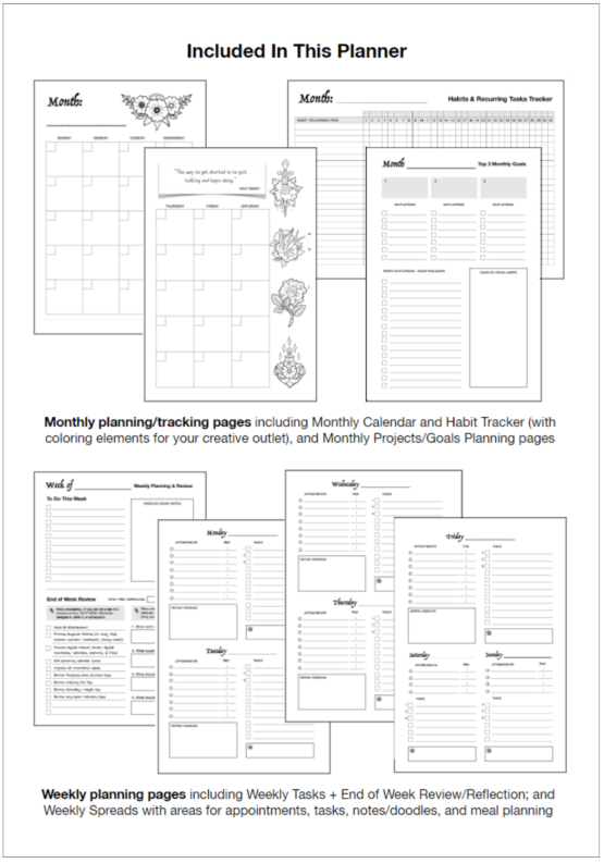 Wendy Neal Design - Organize Your Mind Planner - What's Included